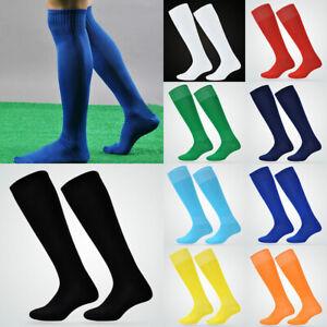 Mens Sport Football Soccer Long Socks Knee High Sock Solid Casual Non-slip Socks