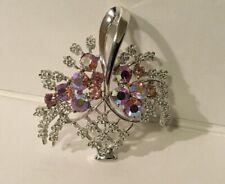 Vtg Coro Pink Aurora Borealis Flower Basket Pin