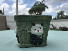 Old Crazy Eyes Panda with Bamboo Green Basket Succulent Planter Ceramic EUC