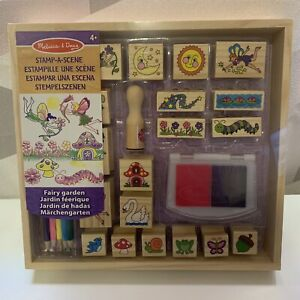 Melissa & Doug Wooden Stamp-a-Scene Fairy Garden 2 Colours, 20 Stamps & Pencils