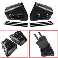 Universal Left & Right Black PU Leather Motorcycle Motorbike Side Bag Saddle Bag