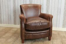 VINTAGE ANTIQUE STYLE BROWN LEATHER ARMCHAIR FIRESIDE CHAIR THE MAYFAIR