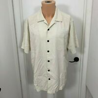 Caribbean Joe Island Supply SILK Shirt Button Cream Mens L large Tropical Floral