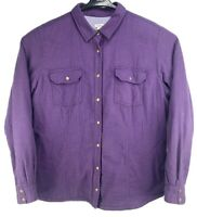 LL Bean Womens XL Purple Checker Snap Front Lined Insulated Flannel Shirt Jacket