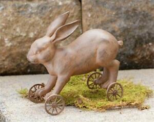 "New Spring Easter Rustic Brown EASTER BUNNY RABBIT WHEELS FIGURINE Figure 6"""