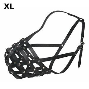 Julius-K9® Dog Safety Muzzle Extra-Large - 35cm Adjustable - Close Mesh Cowhide