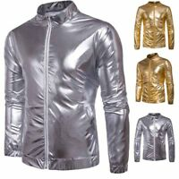 Mens Gold Silver Leather Winter Bomber Flight Jackets Outerwear Club Cool Coats