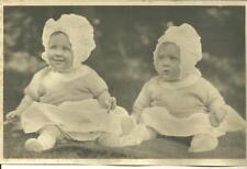 Vintage photo 2 babies little twin girls posing portrait kids B&W children sweet