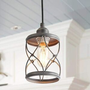 LaLuz Pendant Light for Farmhouse Kitchen Foyer Hanging Fixture Brushed Silver