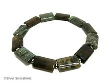 Green & Brown Snakeskin Jasper Gemstone Beads & Sterling Silver Unisex Bracelet