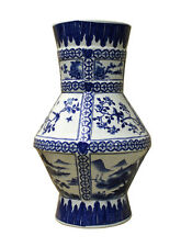 Chinese Blue White Porcelain Flower Bird Scenery Graphic Vase cs2455
