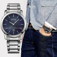 NWT🌎 Hugo Boss 1513402 Classic Silver Tone Stainless Steel Blue Dial Date Watch
