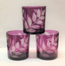 Lenox Home Collection Purple Amethyst Glass Cut Glass Leaf Votive Candle Holders