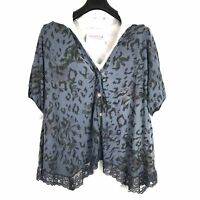 Lagenlook Ladies Top Size 18 Blue Cotton Floral Button Down Lace Hem V Neck