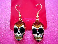 Sugar Skull Rock-A-Billy Skull Dangle Earrings