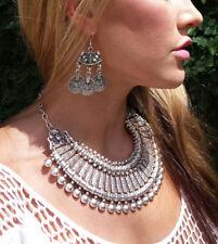 Vintage Silver Bib Necklaces Pendants Women Big Statement Collar Short Chain New