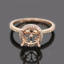 Round 7.5mm 14Kt Rose Gold 0.32Ct Diamond Setting Engagement Semi-Mount Ring