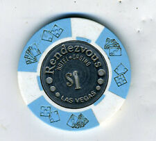 Old 1 Dollar Poker Chip from the Rendezvous Hotel & Casino Las Vegas NV