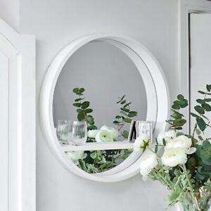 White Round Mirror with Shelf Wall Mounted Porthole Bathroom Bedroom Home Decor
