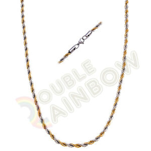 Men Stainless Steel Gold/Silver/Black 2mm/3mm/4mm/5mm Rope Necklace Chain Link