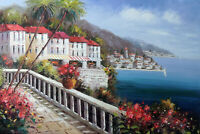 Italian Beach Town Resort Homes Spring Flowers Coast Oil Painting STRETCHED