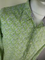 Mens Ted Baker Bird Print Floral Shirt Green Size Xl 5 Skinny Fit 44 Chest Pird