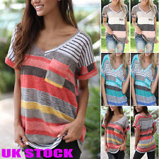 UK Womens Loose Casual Striped Tops Ladies Short Sleeve Boho Shirts Blouses Tops