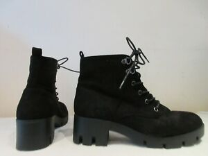 ASOS BLACK SYNTHETIC SUEDE LACE UP ANKLE BOOTS UK 8 (3611)
