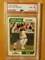 1974 Topps PSA 8 Jim Catfish Hunter #7 Oakland Athletics Hall of Fame!