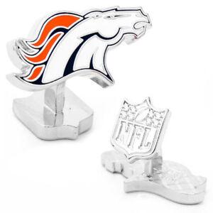Denver BRONCOS NFL Palladium CUFFLINKS NEW in Gift Box 50% off!