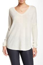VINCE Hi-Lo V-Neck Cashmere Sweater Winter White L NWT $325