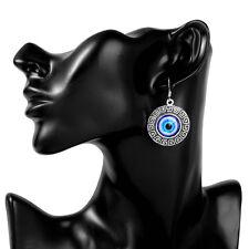 925 Silver Turkish Evil Eye Glass Earring Kabbalah Jewish Drop Dangle Earrings