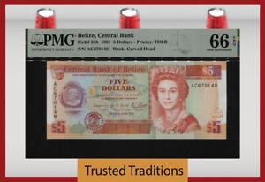 TT PK 53b 1991 BELIZE 5 DOLLARS BEAUTIFUL QUEEN ELIZABETH II PMG 66 EPQ GEM UNC.