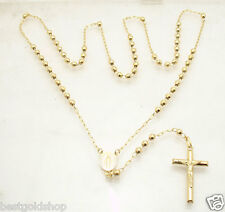 """4mm 26"""" Mens Diamond Cut Ball Bead Rosary Necklace Chain Real 14K Yellow Gold"""