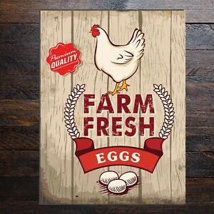 Rustic classic style FARM FRESH EGGS sign metal, PVC or Vinyl sticker 9643