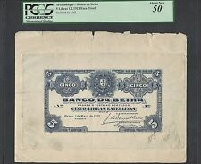 Mozambique 5 Libras  1-5-1921 Face Die Proof About Uncirculated