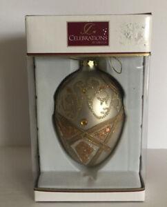 """MIKASA CELEBRATIONS """"REJOICE"""" GOLD GLASS GLITTER JEWEL ORNAMENT-NEW IN BOX"""