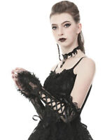 Dark In Love Gothic Black Lace Gloves Elbow Long Sleeves Steampunk Victorian VTG