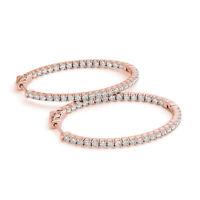 1.48 Ct Round Cut Genuine Diamond Hoop Earrings 14K Rose Gold Stud Earring SI1