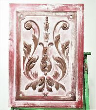 Scroll leaves wood carving painted panel Antique french architectural salvage