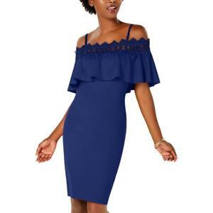 BCX Womens Blue Crochet Trim Off-The-Shoulder Cocktail Party Dress 5 BHFO 1321