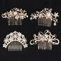Vintage Bridal Wedding Hair Comb Rose Gold Alloy Pearl Hair Clip Head Piece I^uj