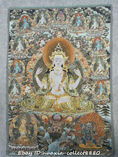 "24"" Tibet Buddhism Cloth Silk embroidery Kwan-yin Guanyin goddess Thangka mural"