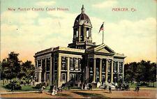 Postcard PA Mercer New Mercer County Court House Buggies American Flag 1909 M9