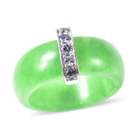 925 Sterling Silver Green Jade Blue Tanzanite Band Ring Jewelry Size 10 Ct 18.2
