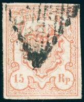SCHWEIZ 1852, Rayon III, MiNr. 10, gestempelt, Attest Hermann, Mi. 650,-