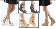 Donna Avanti con lacci sandali alla caviglia da donna con cinturino motivo zeppe