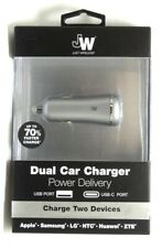Just Wireless Vehicle Charger Dual Usb Port (5.4 amps, Usb-A +Usb-C) Slate Gray