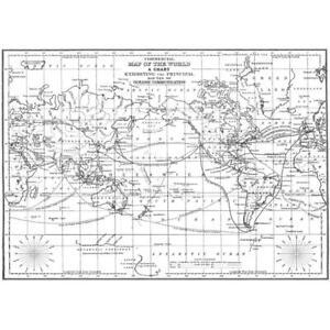 World Map Background Cling Unmounted Rubber Stamp DARKROOM DOOR DDBS025 New