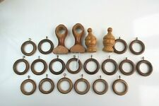 WOODEN CURTAIN RINGS x18, BRACKETS AND FINIALS LIGHT BROWN Used